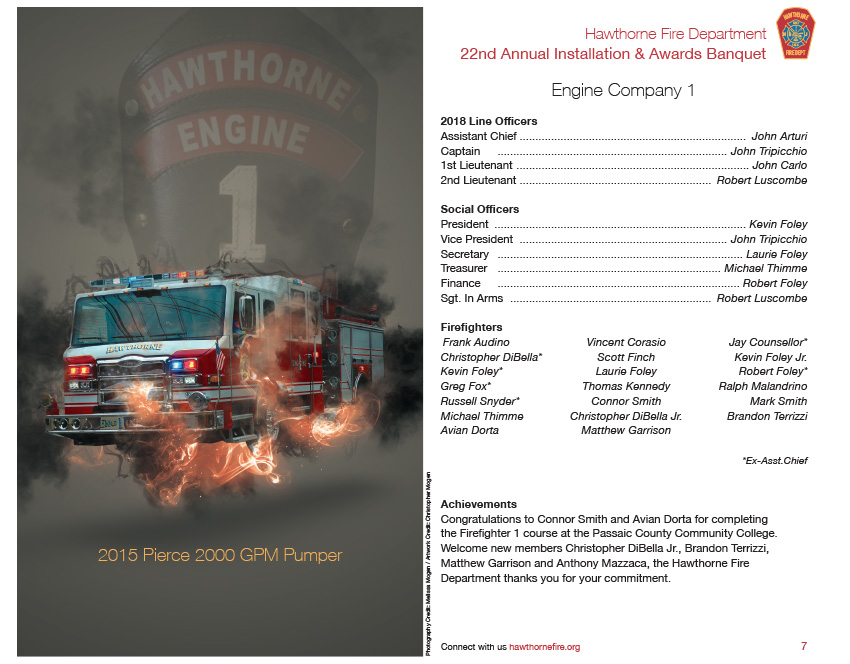 HFD Annual Installation & Awards Banquet Brochure (Company 1)