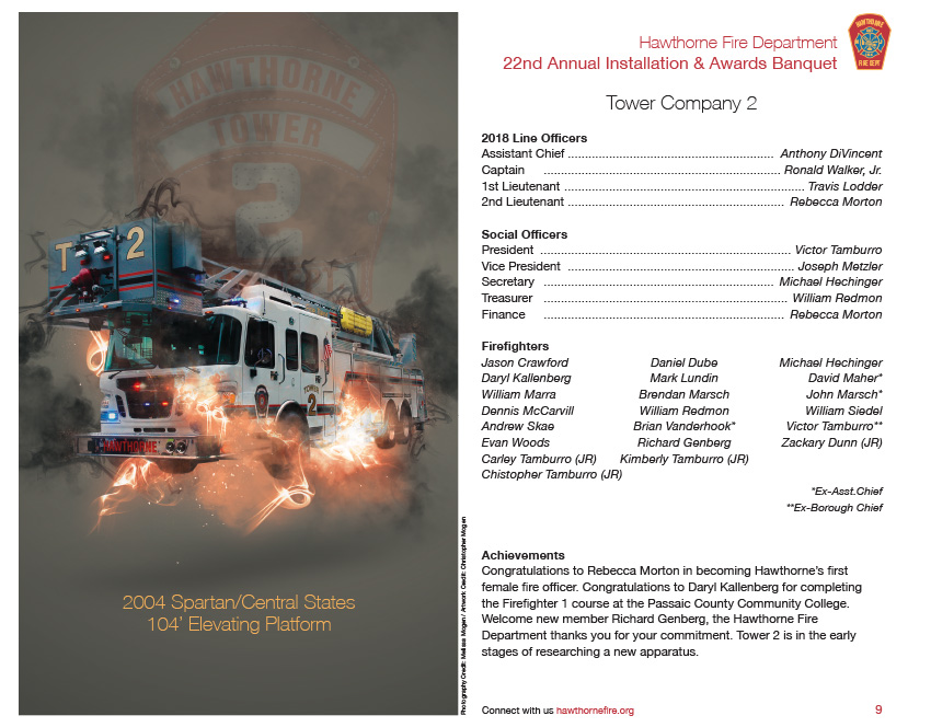 HFD Annual Installation & Awards Banquet Brochure (Company 2)