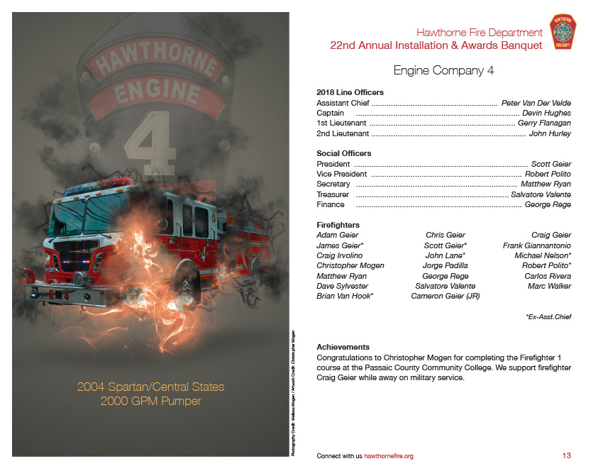 HFD Annual Installation & Awards Banquet Brochure (Company 4)
