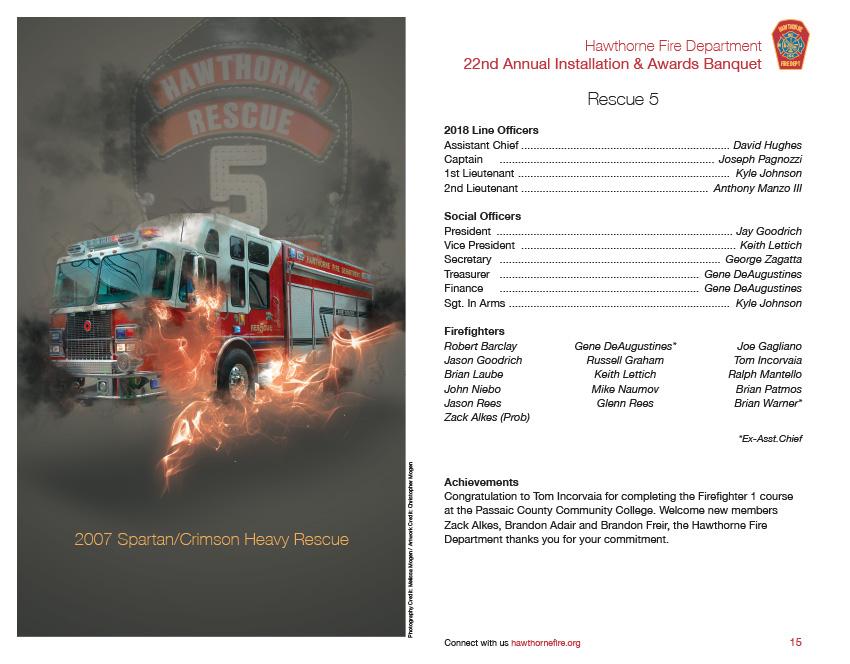 HFD Annual Installation & Awards Banquet Brochure (Company 5)